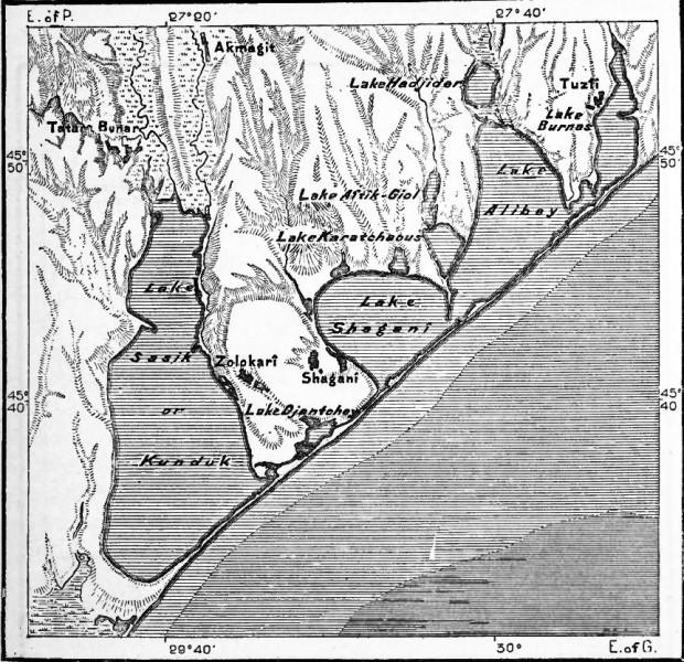 Les limans Sasyk ou Kunduk, Shagani et Alibey sur une carte du XIXème siècle
