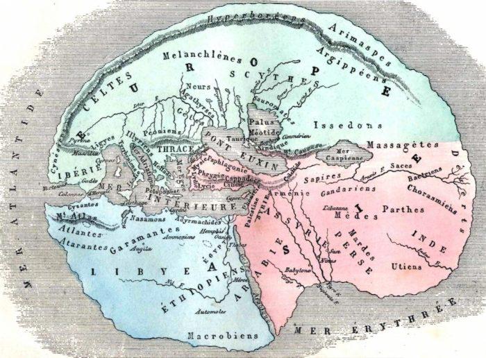 Hérodote carte du monde (Figuier 1884)