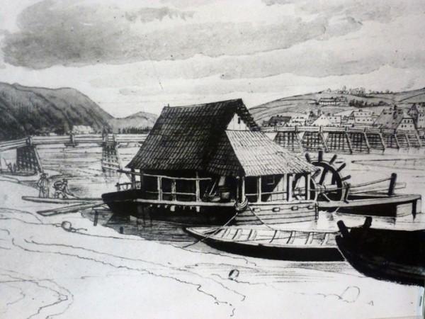 Moulin-bateau sur le Danube autrichien, gravure, collection du Musée de la navigation de Grein (Haute-Autriche)