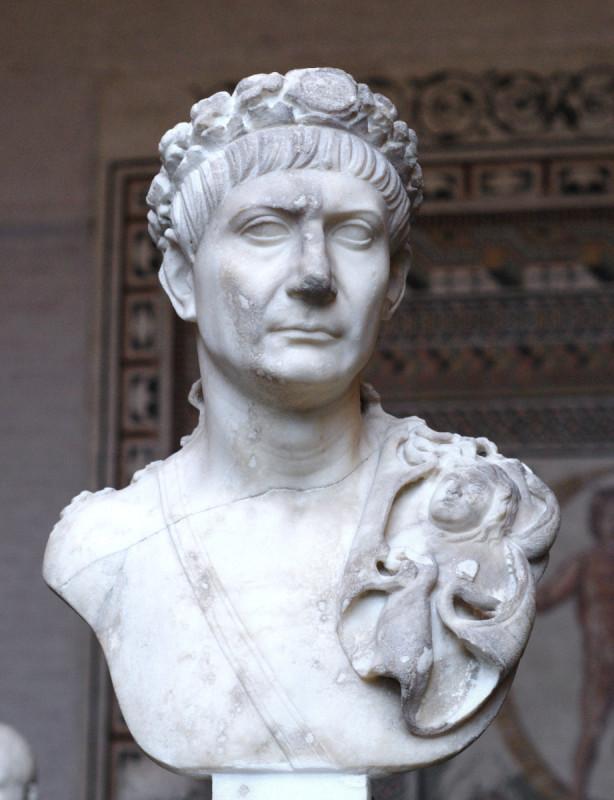 L'empereur Trajan (53-117). C'est sous son règne que l'Empire romain atteint son apogée.