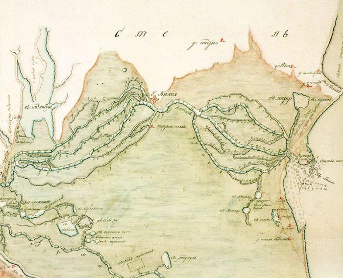 Bras de Kilia en 1771 d'après une carte russe anonyme