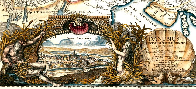 Cartouche représantant Donaueschingen sur la carte du Danube de Jacob von Sandrart