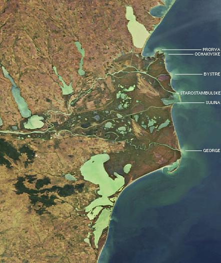 Le delta du Danube avec les canaux de Prorva et de Bystroe