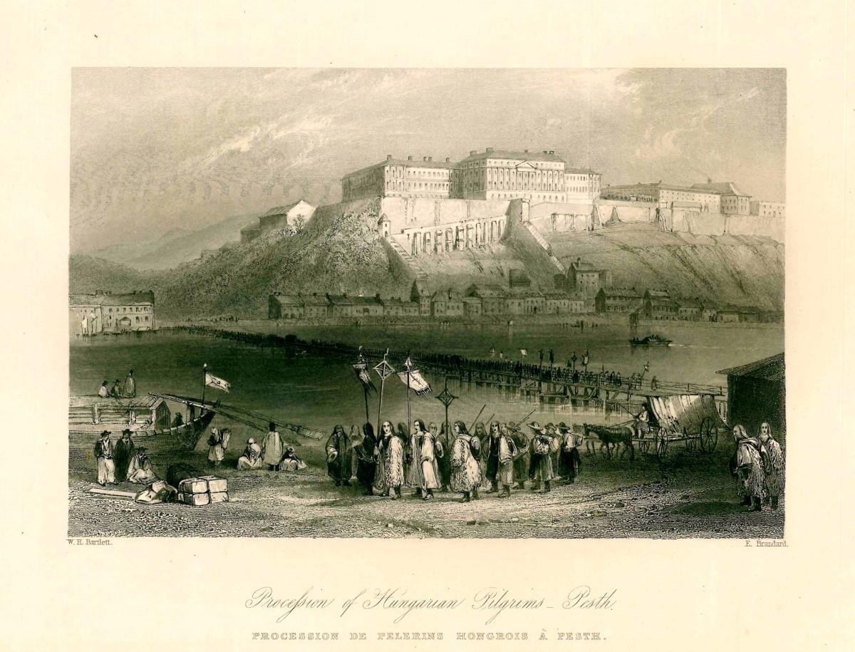 Le pont de bateaux vers 1840